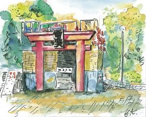 18-3 調布際の季節がやってきた。正門に建てられた今年のシンポルオブジェは、ここ数年では最高の品位がある。深大寺を意識したのだろうが、電通大らしくて大変好感が持てる